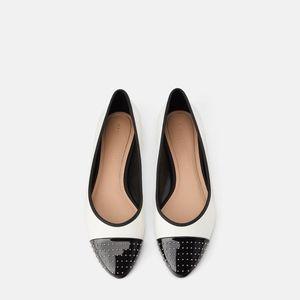 Zara STUDDED TOE BALLET FLATS White 6.5